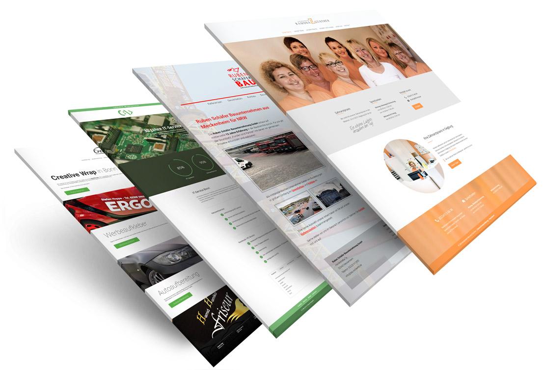 Vier Webdesign Referenzen aus Bonn